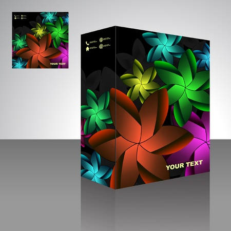 size distribution: Floral packaging box. Abstract illustration.