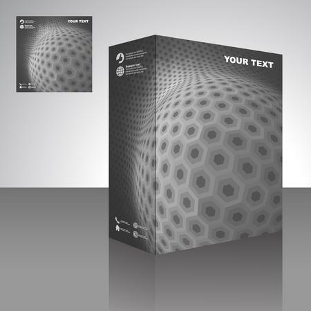 Esfera. Cuadro de embalaje de vector. Ilustración abstracta.