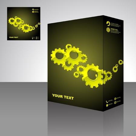 verhuis dozen: Gears. Vector verpakking vak. Abstracte illustratie.