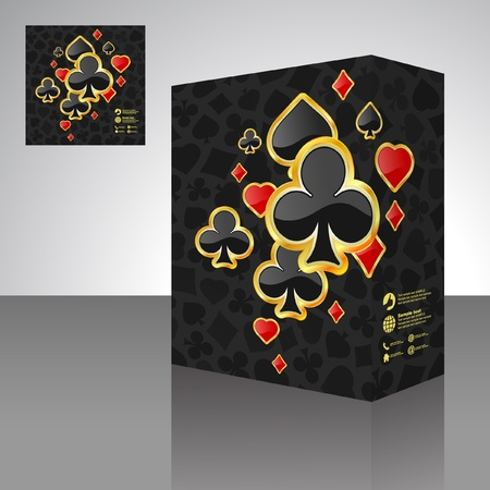 Vector packaging box with card suits. Vector