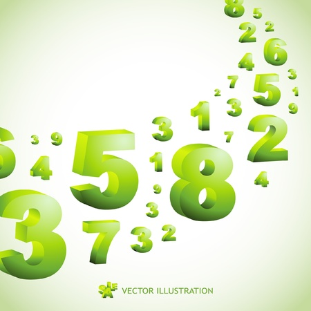 digit 3: Abstract background with numbers.   Illustration