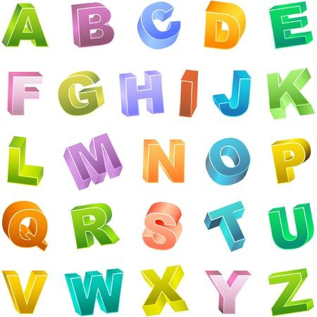 alfabético: Colored 3d alphabet set.