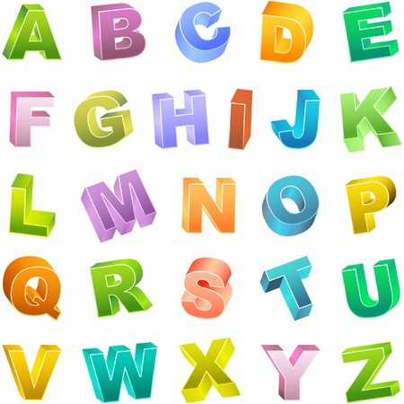 write a letter: Colored 3d alphabet set.