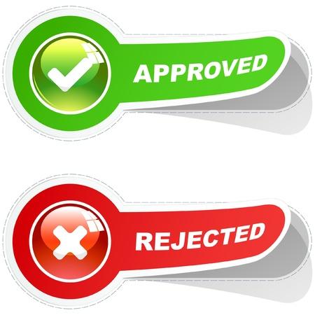 assentiment: Autocollants approuv�s et rejet�s. Illustration