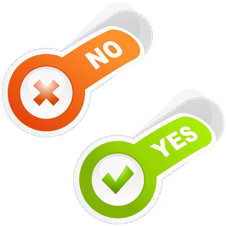 Yes and No icon. sticker set. Stock Vector - 9901760