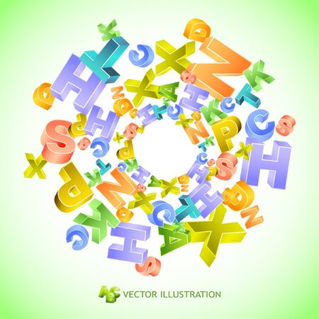 3d alphabet letter abc: Abstract background with colorful letters Illustration