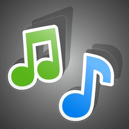 Music sticker set.  Vector