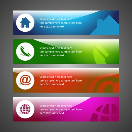 contact info: Home, phone, internet and email. Banner set for design. Illustration
