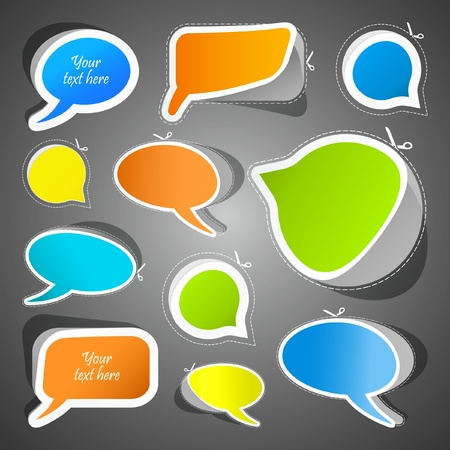 discussion forum: Speech bubbles. Sticker set for sale. Illustration