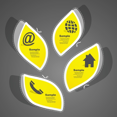 Home, phone, internet and email. Sticker set for design. Vector