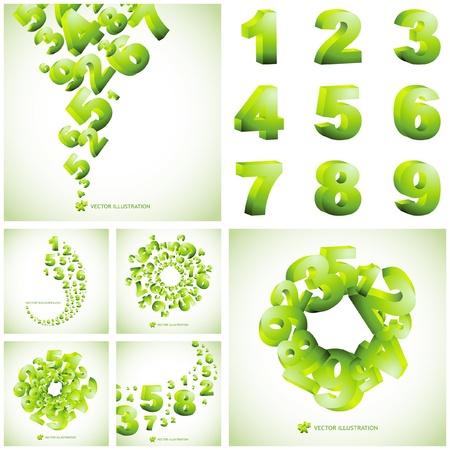 cijfer vier: Abstracte achtergrond met getallen.  Grote collectie.