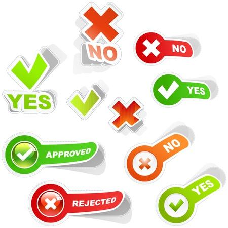 no pase: Conjunto de iconos aprobados y rechazados. Vectores