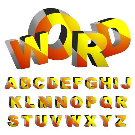3d alphabet. Vector set.