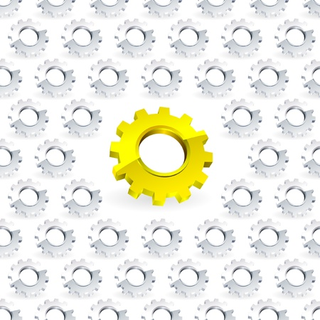 Seamless gear background.   Vector