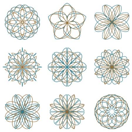 Guilloche vector elements.   Vector