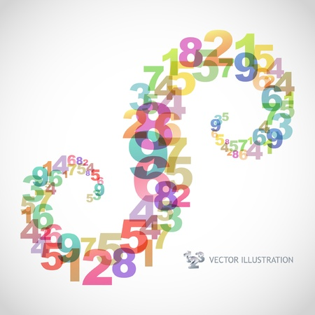 visual art: Abstract background with numbers.   Illustration