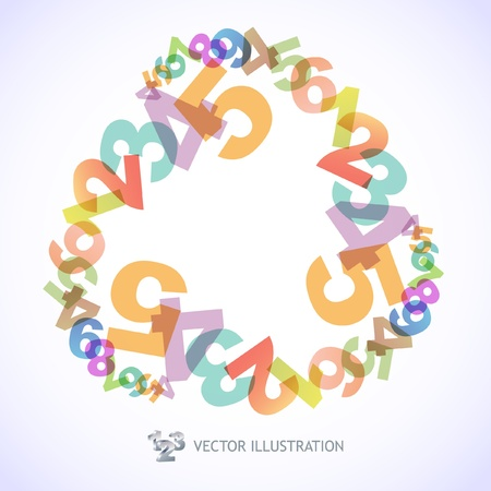 virtual school: Abstract background with numbers.   Illustration