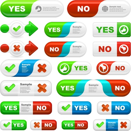 yes: YES and NO. Vector beautiful icon set.