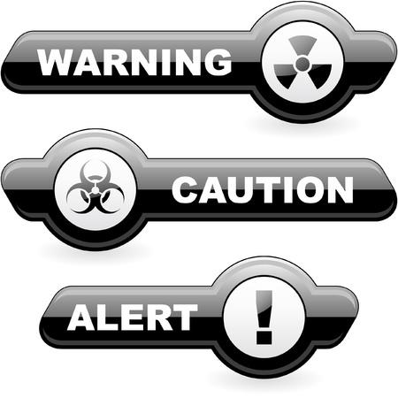 alertas: Se�ales de advertencia de vectores. Ilustraci�n vectorial.