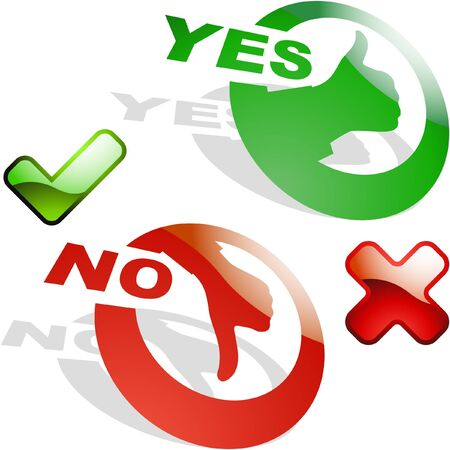 Yes and No icon set Stock Vector - 9997145