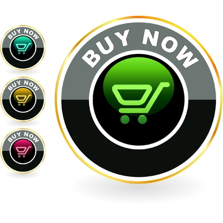 vector button: Shopping cart. Vector button.