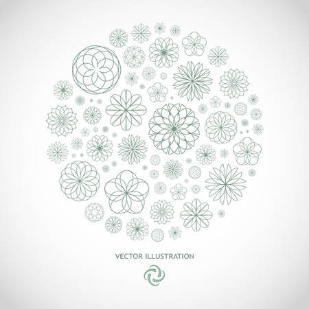 flower logo: Floral illustration.
