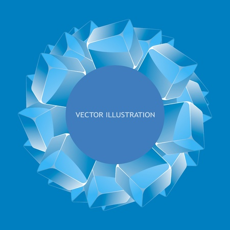 Abstract background with blue boxes     Vector