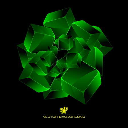 Abstract background with green boxes Stock Vector - 11270094