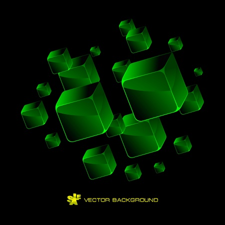 Abstract background with green boxes     Vector