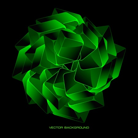 Abstract background with green boxes     Illustration