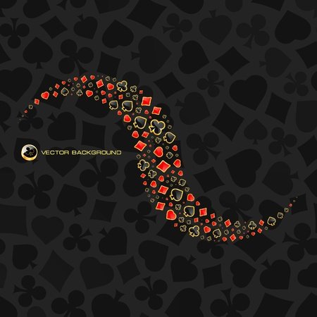 heart suite: Vector gambling composition. Abstract background.  Illustration