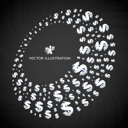 Abstract background with a dollar symbols. illustration.   Vector