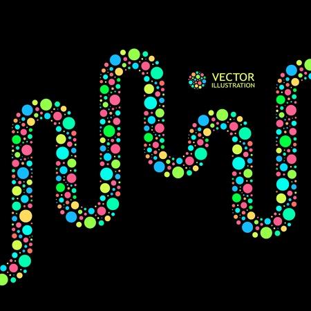 dotted: Different lights dots on black background. Vector illustration