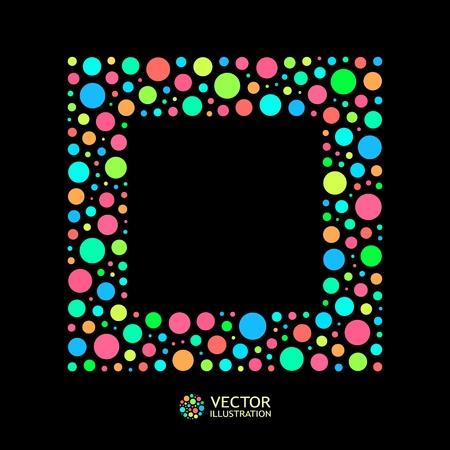 Different lights dots on black background. Vector illustration   Vector