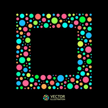 doted: Different lights dots on black background. Vector illustration