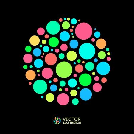 torsion: Different lights dots on black background. Vector illustration