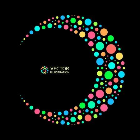 abstracte vormen: Verschillende lichten stippen op een zwarte achtergrond. Vector illustratie