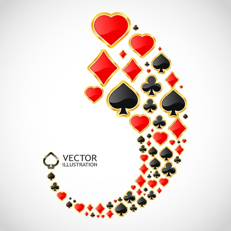 heart suite: gambling composition. Abstract background.