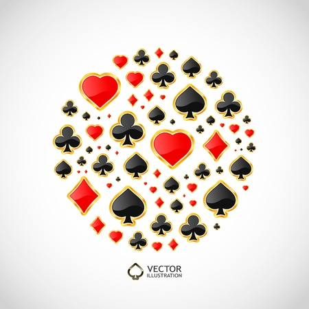 heart suite: Vector gambling composition  Abstract background