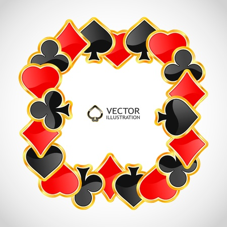 heart suite: Vector gambling composition. Abstract background.