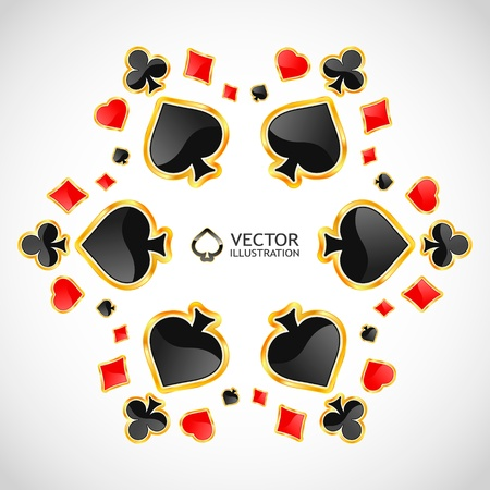 4 of a kind: Vector gambling composition. Abstract background.
