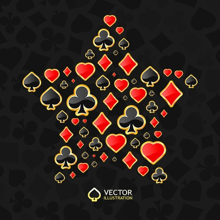 jack of hearts: Vector gambling composition. Abstract background.