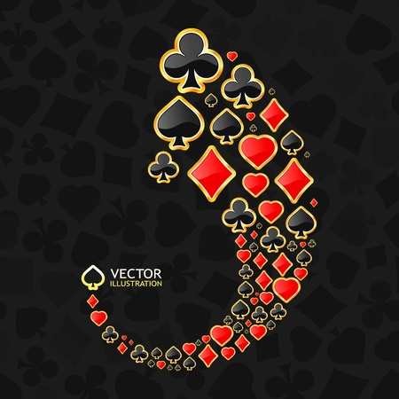 royal flush: Vector gambling composition. Abstract background.