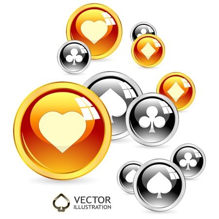 king of hearts: Vector gambling composition. Abstract illustration.