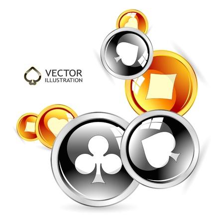 cartas de poker: Vector de composici�n de los juegos de azar. Ilustraci�n abstracta.