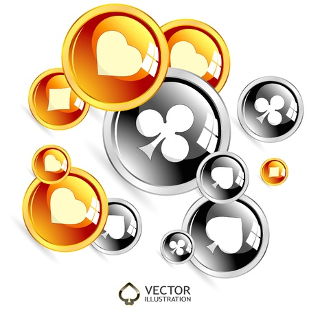 heart suite: Vector gambling composition. Abstract illustration.