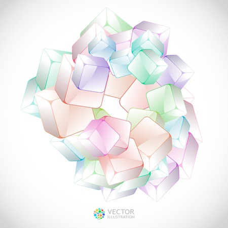 multi media: Abstract crystals background.   Illustration