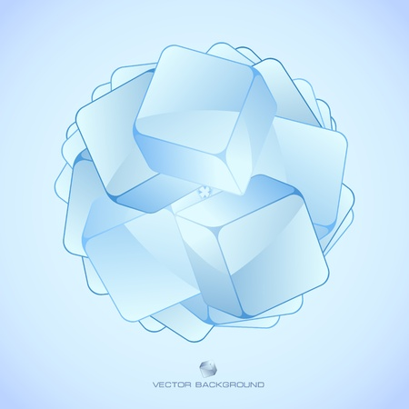 reflection internet: Abstract crystals background.   Illustration