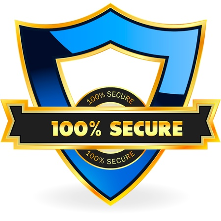 armor: 100% SECURE. Vector illustration.