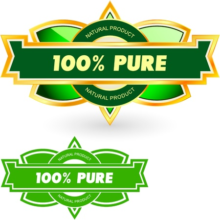 100% PURE. Vector label. Vector